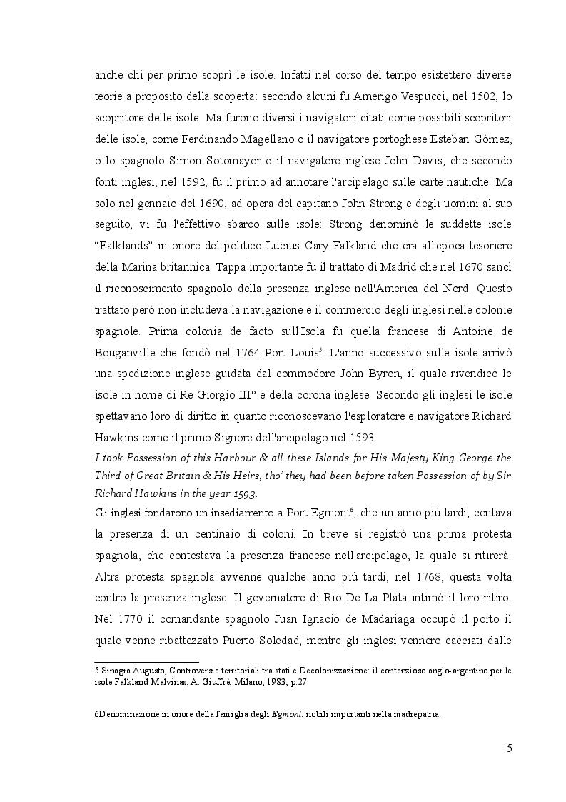 Anteprima della tesi: Il conflitto delle Falkland/Malvinas, Pagina 4
