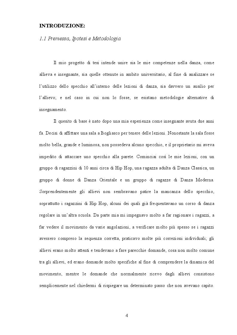 Anteprima della tesi: Lo specchio: ausilio od ostacolo nell'insegnamento della danza? Processi cognitivi e metodologia di insegnamento, Pagina 2