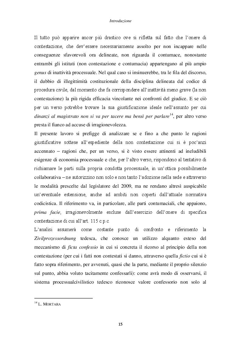 Anteprima della tesi: Il principio di non contestazione: genesi, disciplina e potenzialità semplificatorie nell'ottica del nuovo art. 115 c.p.c., Pagina 10