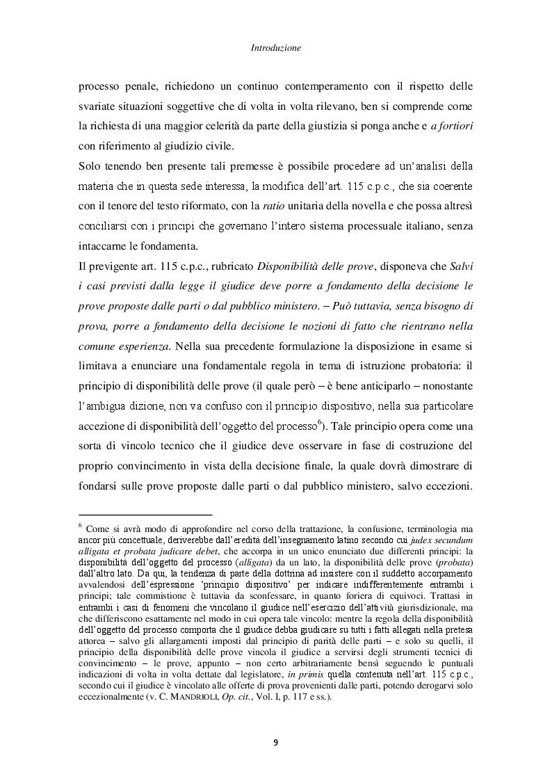 Anteprima della tesi: Il principio di non contestazione: genesi, disciplina e potenzialità semplificatorie nell'ottica del nuovo art. 115 c.p.c., Pagina 4