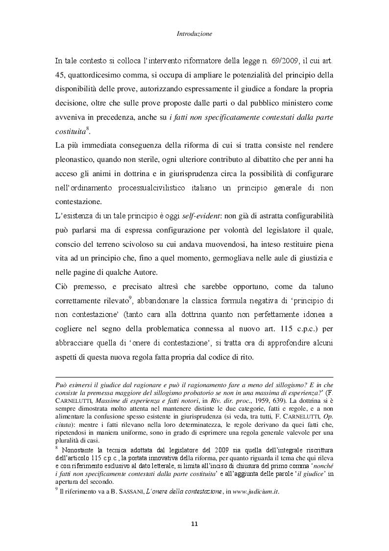 Anteprima della tesi: Il principio di non contestazione: genesi, disciplina e potenzialità semplificatorie nell'ottica del nuovo art. 115 c.p.c., Pagina 6