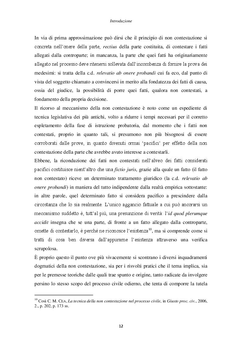 Anteprima della tesi: Il principio di non contestazione: genesi, disciplina e potenzialità semplificatorie nell'ottica del nuovo art. 115 c.p.c., Pagina 7