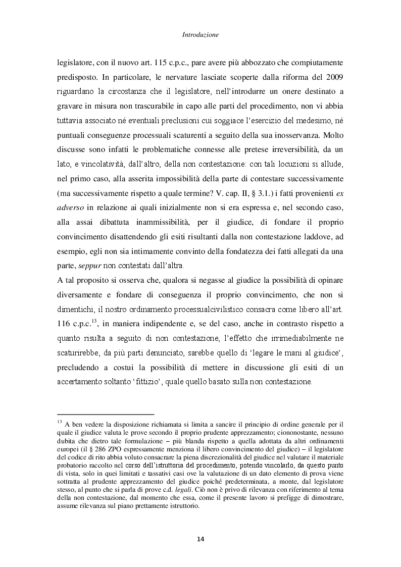 Anteprima della tesi: Il principio di non contestazione: genesi, disciplina e potenzialità semplificatorie nell'ottica del nuovo art. 115 c.p.c., Pagina 9