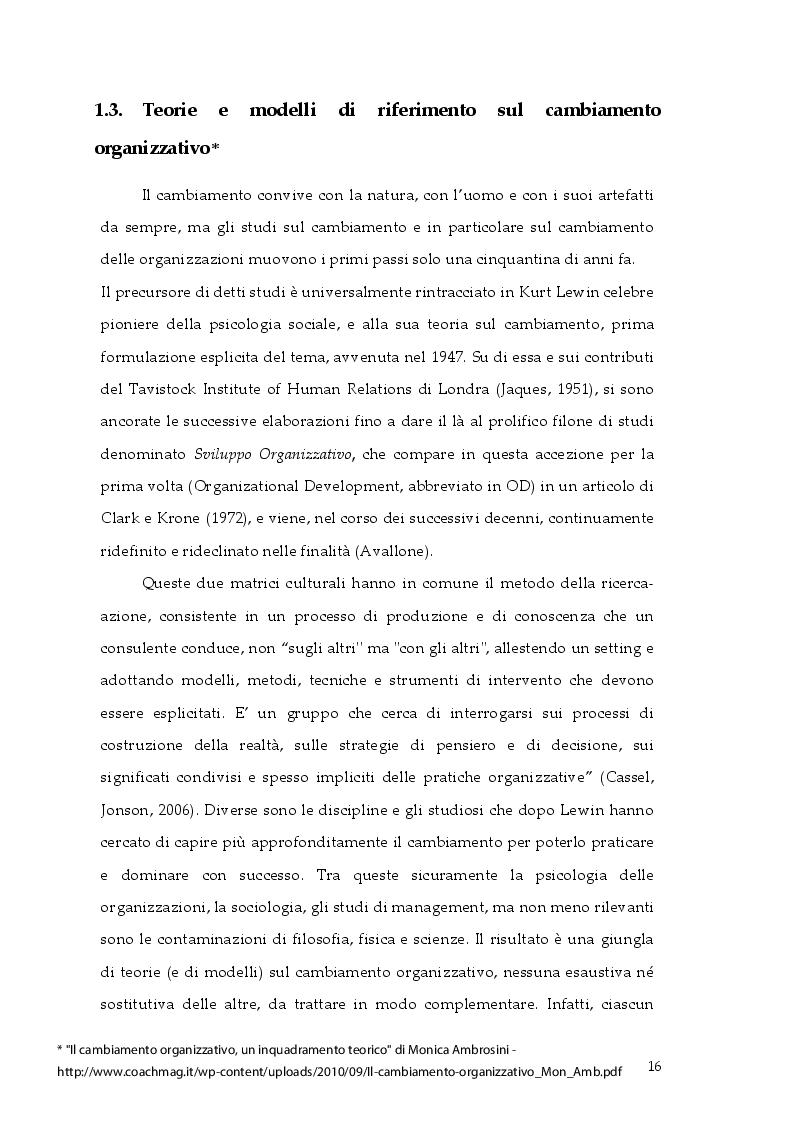 Estratto dalla tesi: Cambiamento e ''cambia-menti'' nella Pubblica Amministrazione