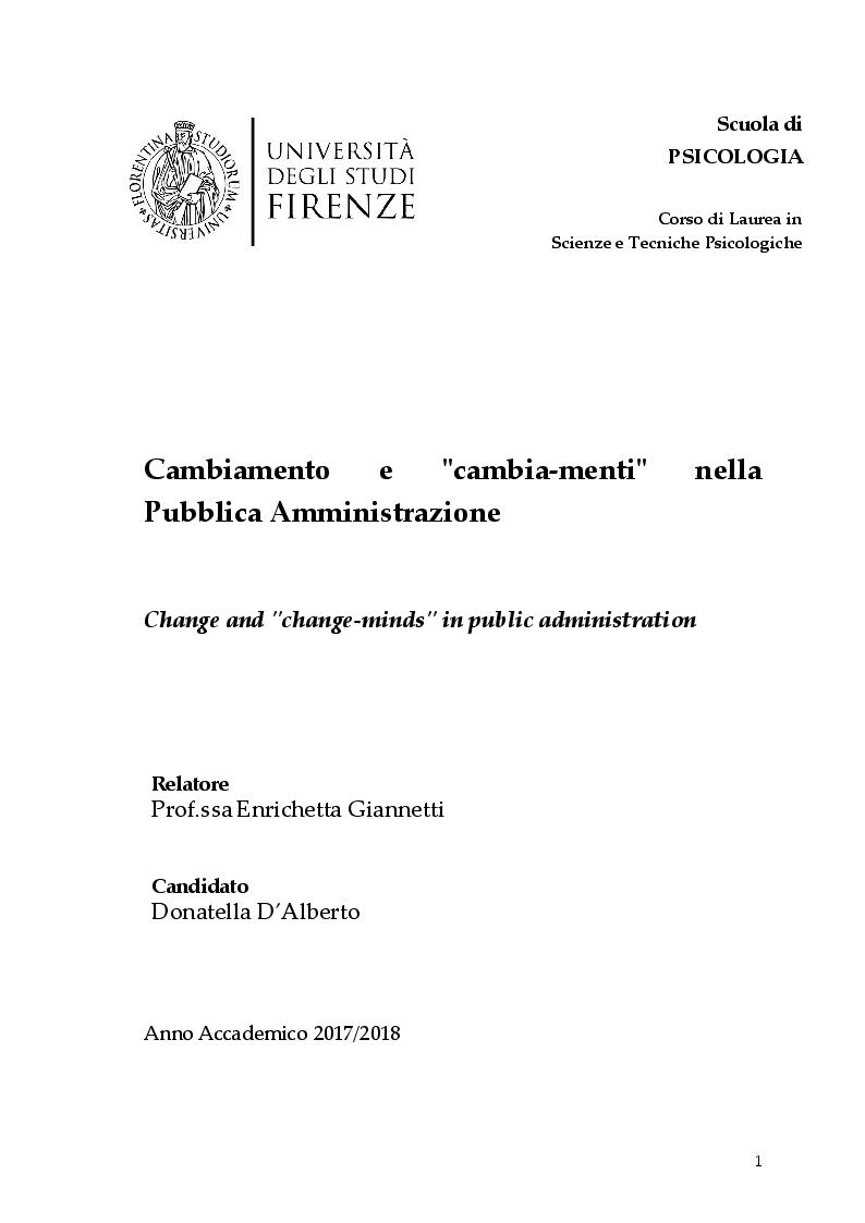 Anteprima della tesi: Cambiamento e ''cambia-menti'' nella Pubblica Amministrazione, Pagina 1