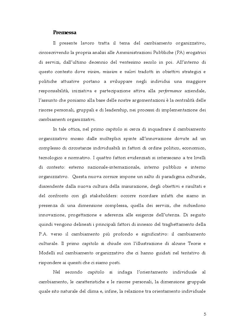 Anteprima della tesi: Cambiamento e ''cambia-menti'' nella Pubblica Amministrazione, Pagina 2