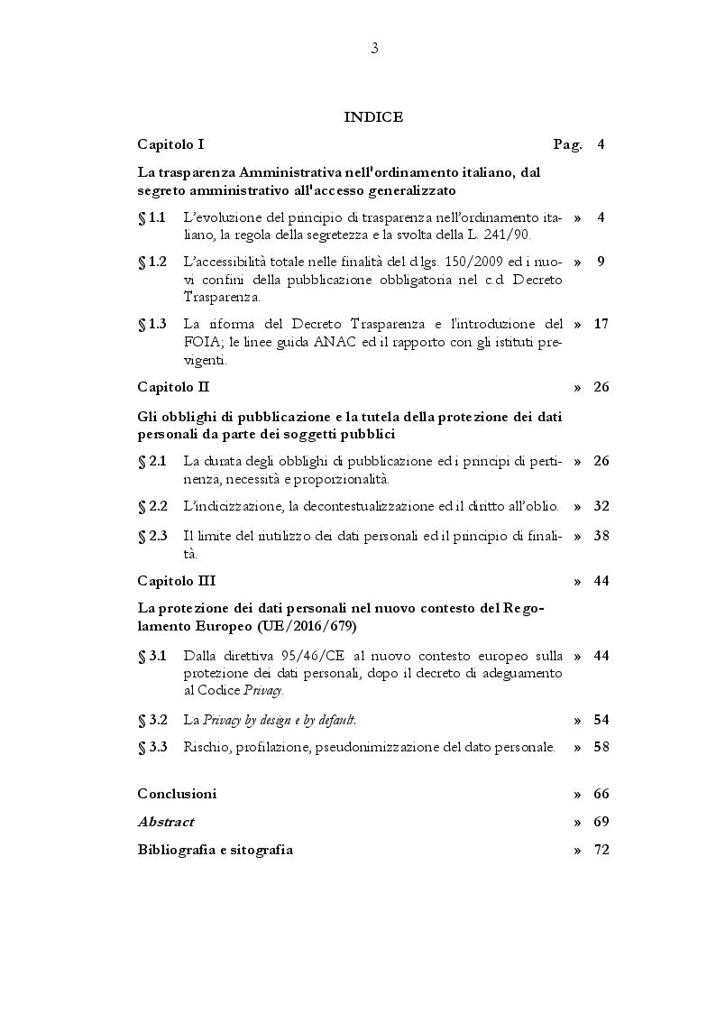 Indice della tesi: Il rapporto tra gli obblighi di pubblicazione e la tutela dei dati personali, Pagina 1