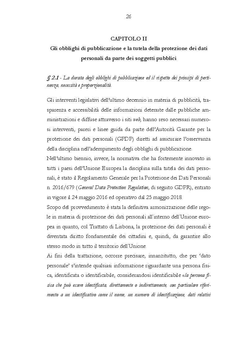 Anteprima della tesi: Il rapporto tra gli obblighi di pubblicazione e la tutela dei dati personali, Pagina 2