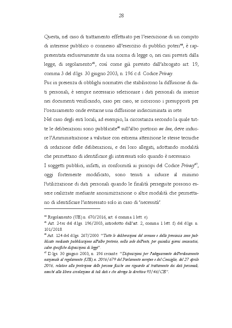 Anteprima della tesi: Il rapporto tra gli obblighi di pubblicazione e la tutela dei dati personali, Pagina 4