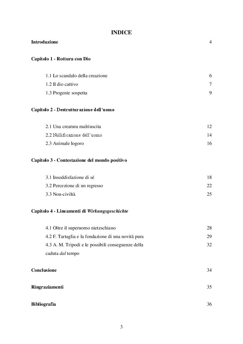 Indice della tesi: La realtà come errore nella speculazione tragica di Emil Cioran, Pagina 1