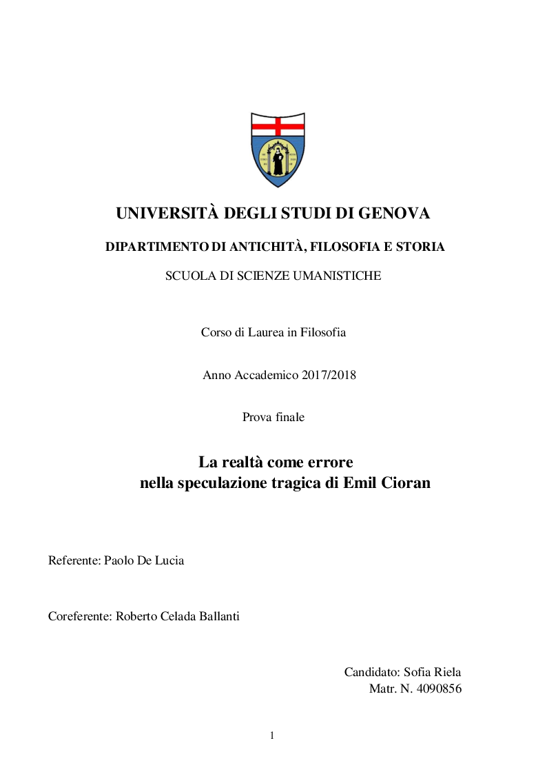 Anteprima della tesi: La realtà come errore nella speculazione tragica di Emil Cioran, Pagina 1