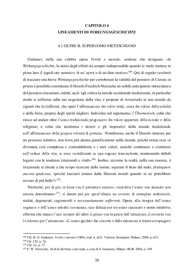 Anteprima della tesi: La realtà come errore nella speculazione tragica di Emil Cioran, Pagina 2