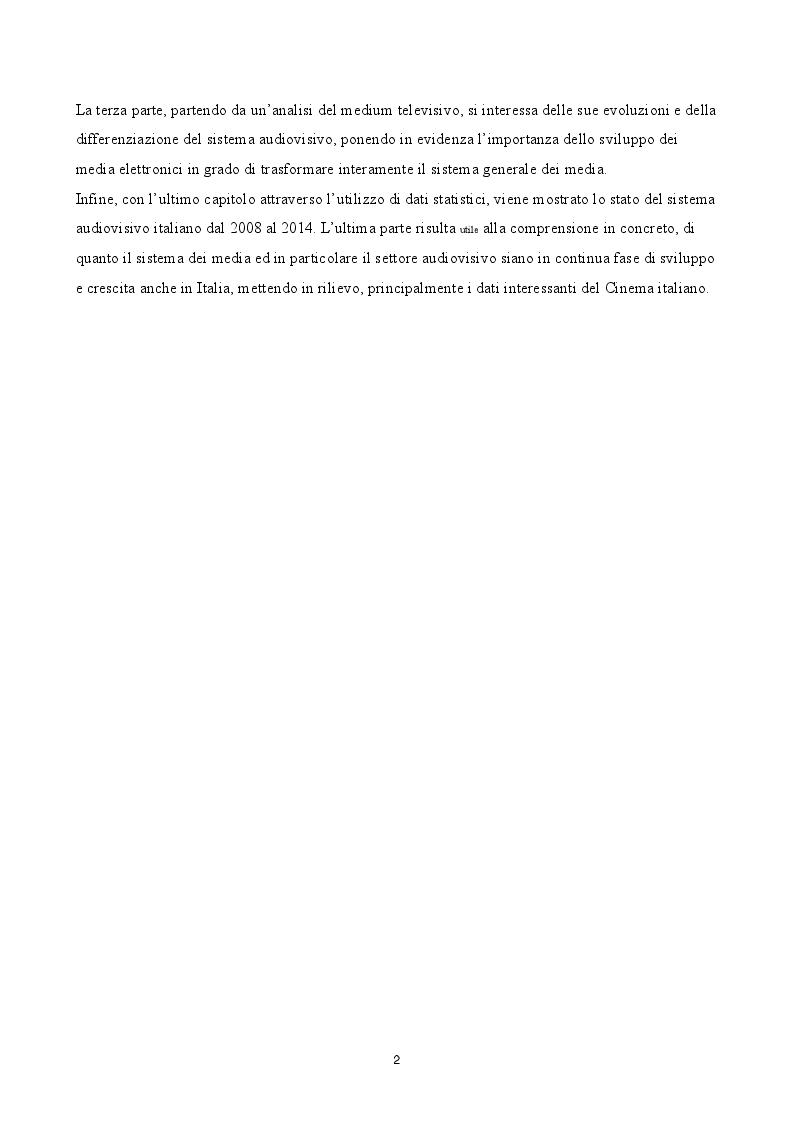 Anteprima della tesi: Evoluzione del gusto e differenziazione dei mezzi di fruizione nel mercato audiovisivo in Italia dal 2008 al 2014, Pagina 3