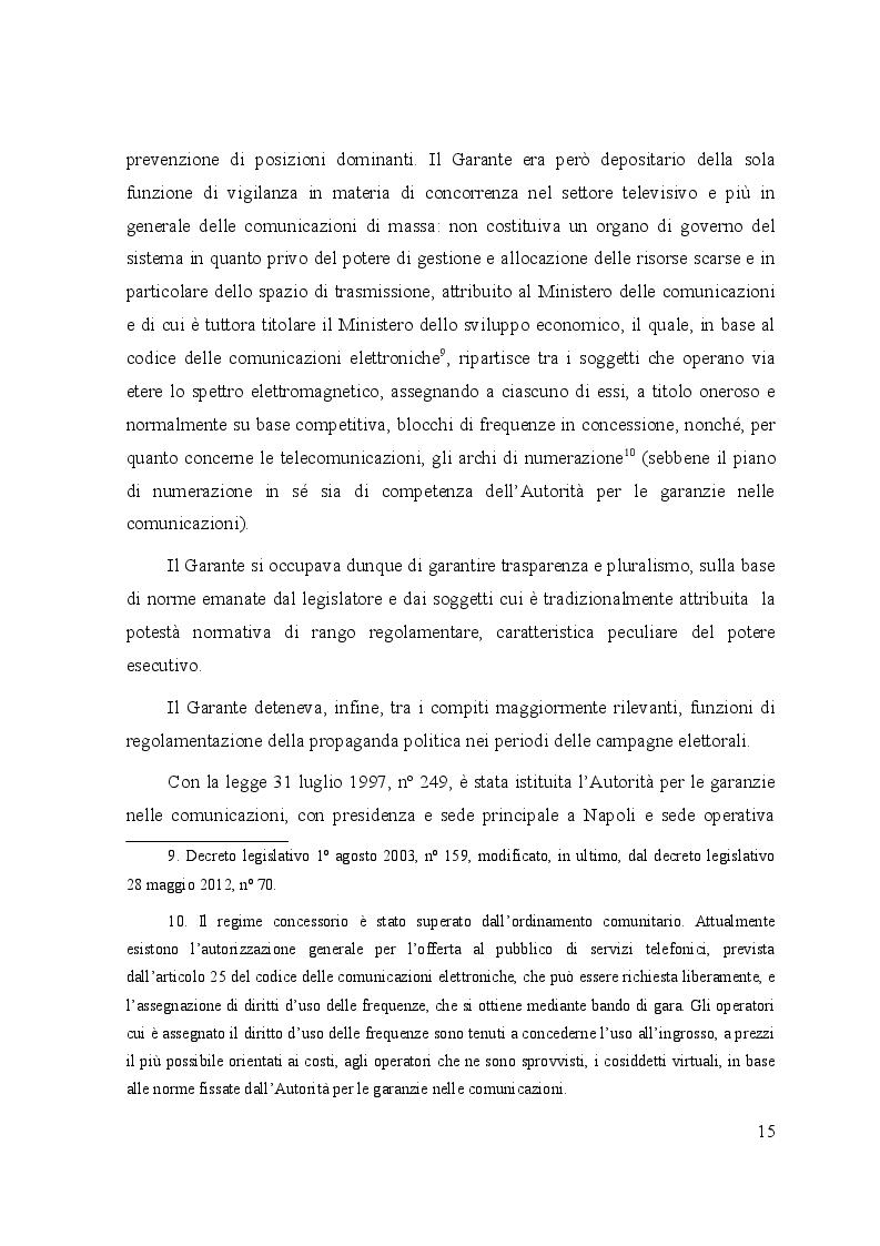 Anteprima della tesi: Le controversie tra utenti e operatori di comunicazioni elettroniche: il ruolo dell'Autorità per le garanzie nelle comunicazioni e dei comitati regionali per le comunicazioni, Pagina 10
