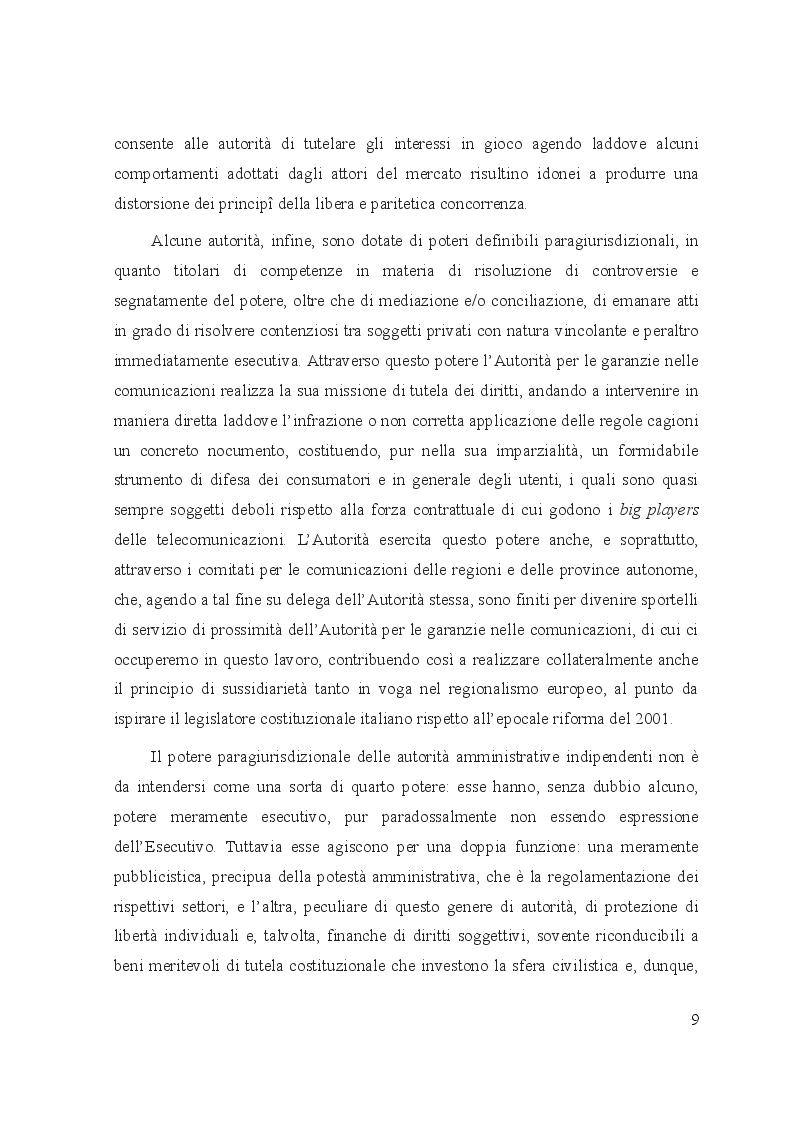 Anteprima della tesi: Le controversie tra utenti e operatori di comunicazioni elettroniche: il ruolo dell'Autorità per le garanzie nelle comunicazioni e dei comitati regionali per le comunicazioni, Pagina 5