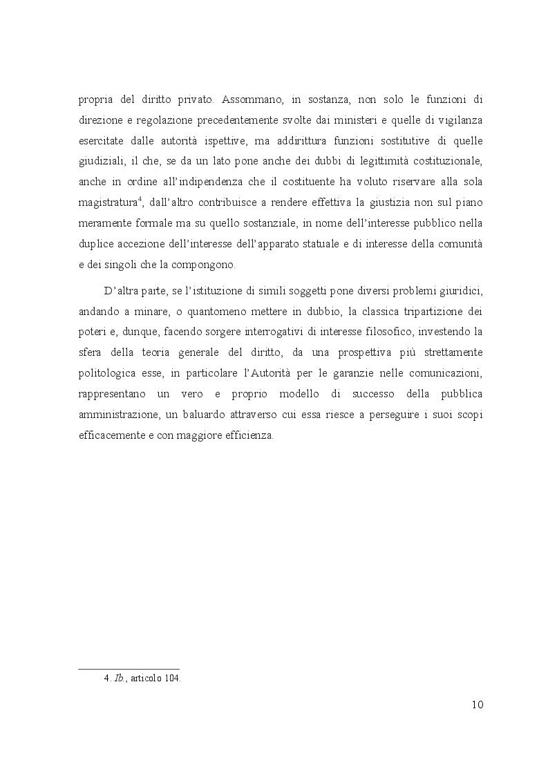 Anteprima della tesi: Le controversie tra utenti e operatori di comunicazioni elettroniche: il ruolo dell'Autorità per le garanzie nelle comunicazioni e dei comitati regionali per le comunicazioni, Pagina 6