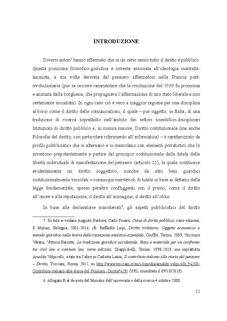 Anteprima della tesi: Le controversie tra utenti e operatori di comunicazioni elettroniche: il ruolo dell'Autorità per le garanzie nelle comunicazioni e dei comitati regionali per le comunicazioni, Pagina 7