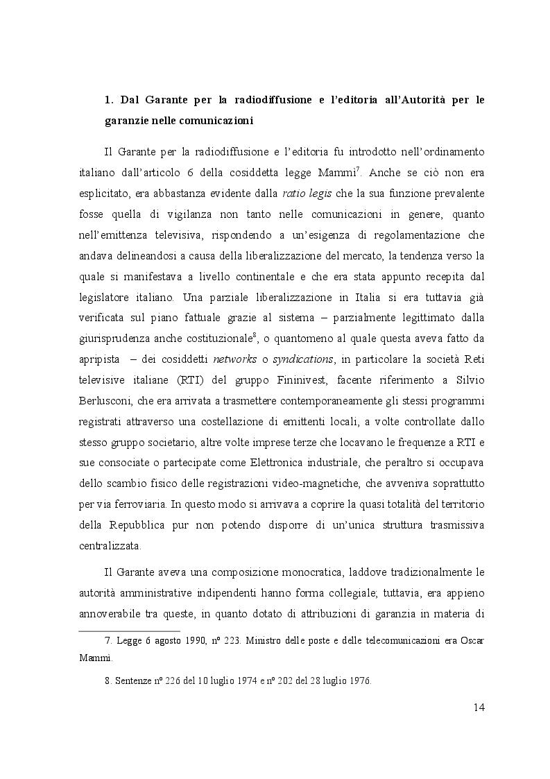 Anteprima della tesi: Le controversie tra utenti e operatori di comunicazioni elettroniche: il ruolo dell'Autorità per le garanzie nelle comunicazioni e dei comitati regionali per le comunicazioni, Pagina 9