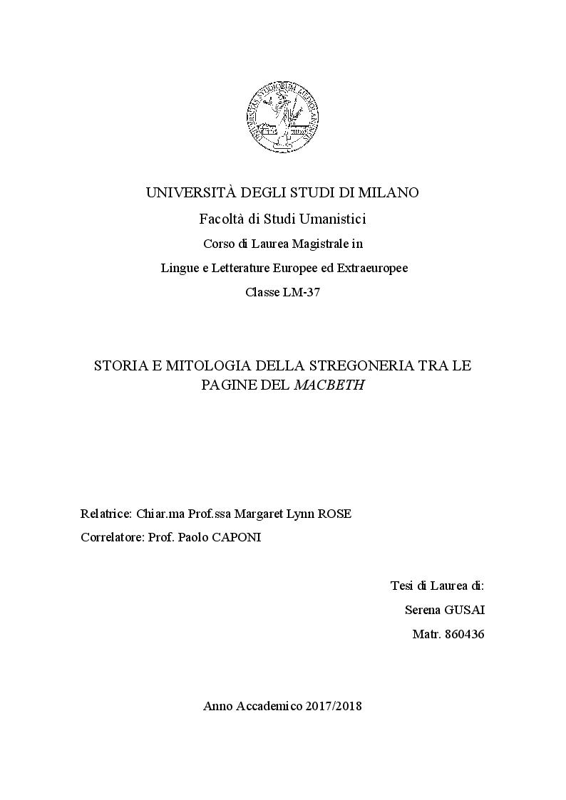 Anteprima della tesi: Storia e Mitologia della Stregoneria tra le pagine del Macbeth, Pagina 1