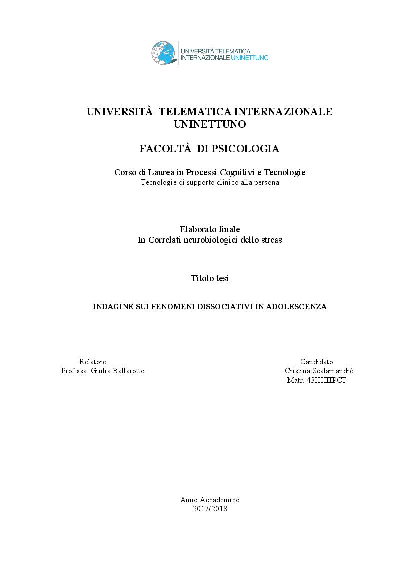 Anteprima della tesi: Indagine sui fenomeni dissociativi in adolescenza, Pagina 1