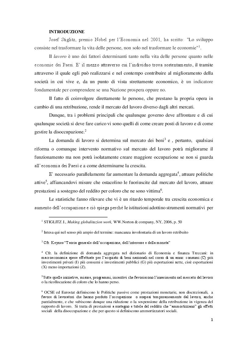 Anteprima della tesi: Le Politiche del lavoro e il Jobs Act, Pagina 2