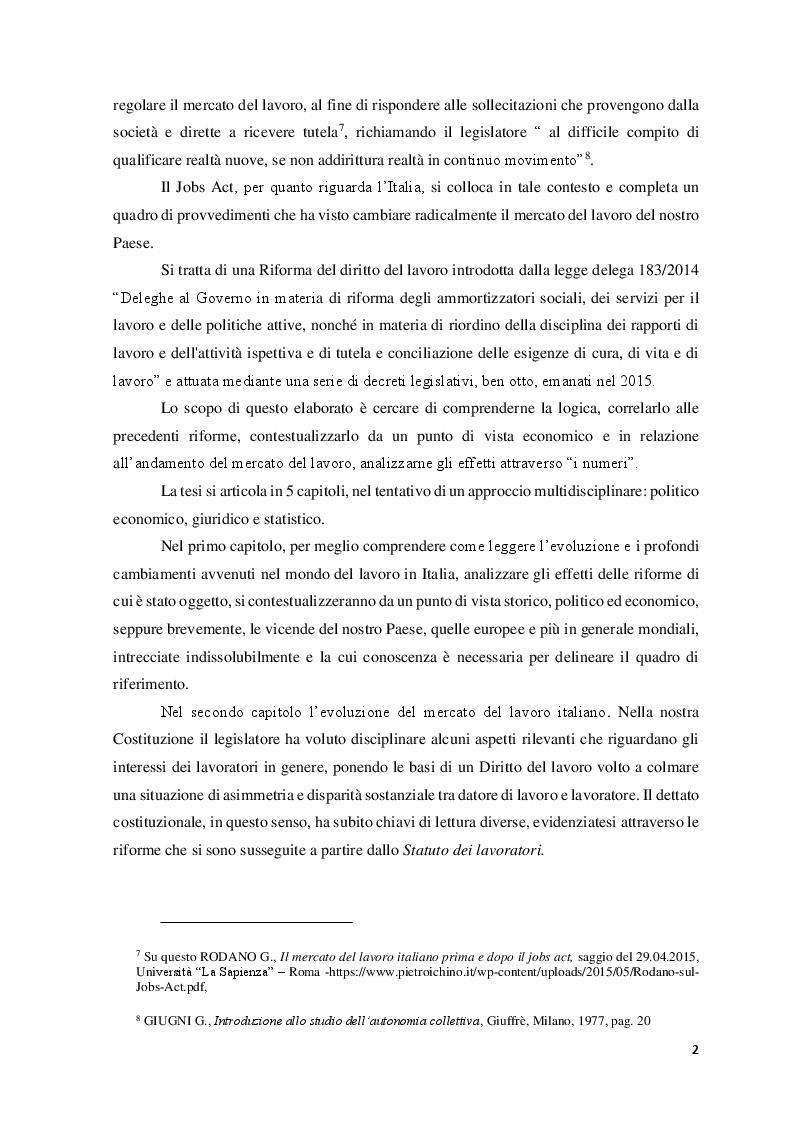 Anteprima della tesi: Le Politiche del lavoro e il Jobs Act, Pagina 3