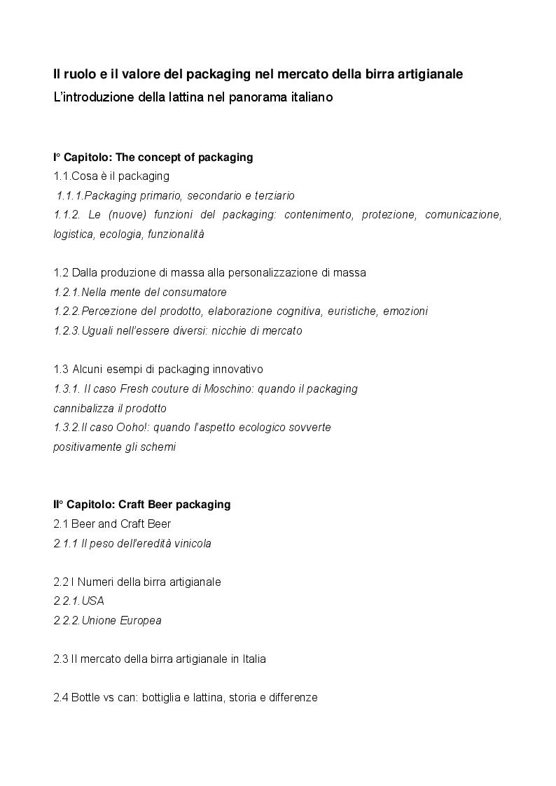 Indice della tesi: Il ruolo e il valore del packaging nel mercato della birra artigianale. L'introduzione della lattina nel panorama italiano, Pagina 1