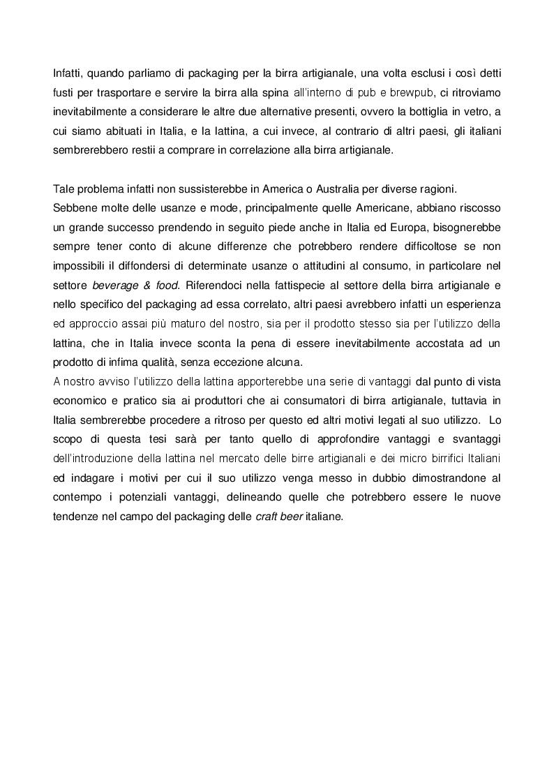 Anteprima della tesi: Il ruolo e il valore del packaging nel mercato della birra artigianale. L'introduzione della lattina nel panorama italiano, Pagina 3