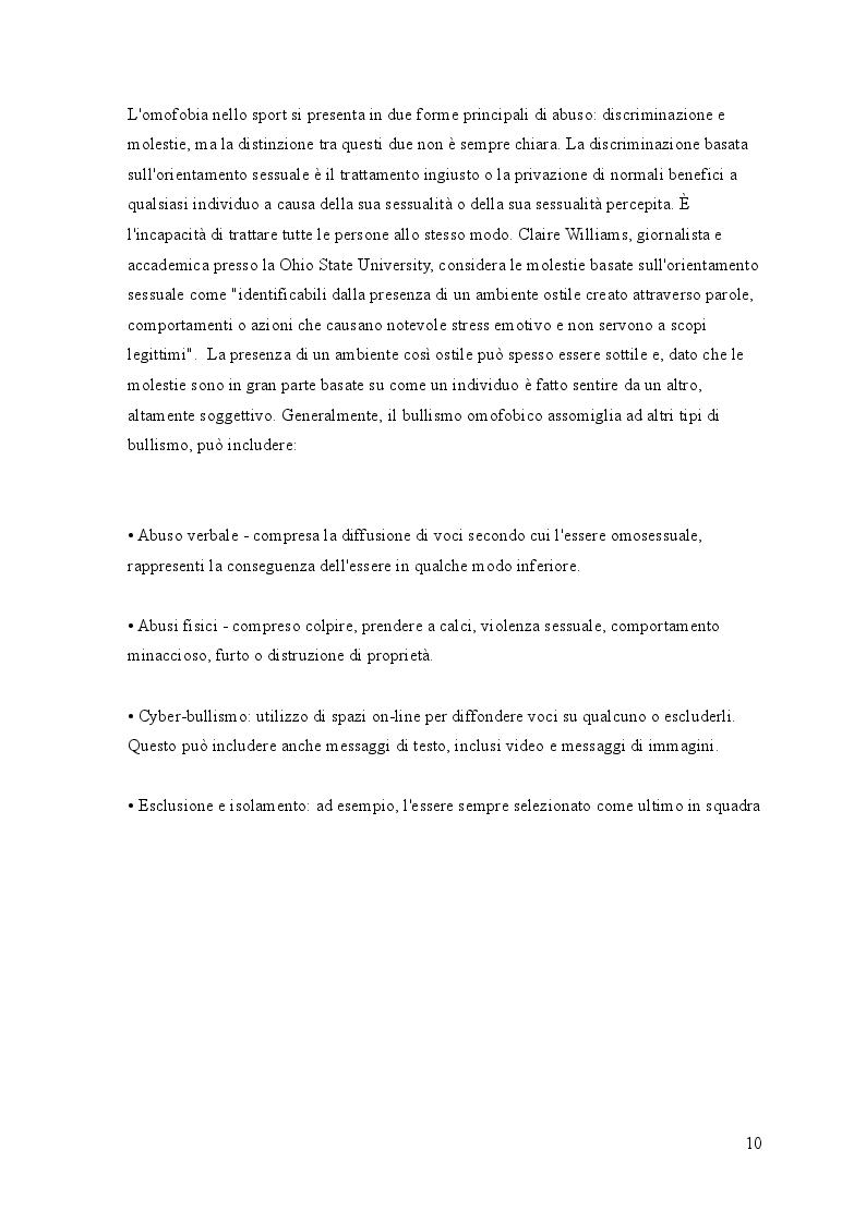 Estratto dalla tesi: L'incidenza del bullismo omofobico sul modello sportivo nordamericano