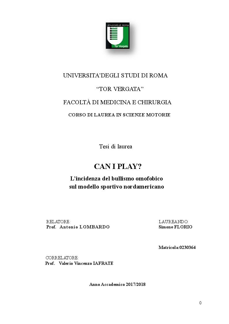 Anteprima della tesi: L'incidenza del bullismo omofobico sul modello sportivo nordamericano, Pagina 1