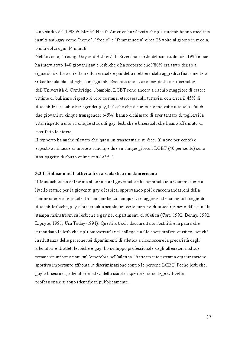 Anteprima della tesi: L'incidenza del bullismo omofobico sul modello sportivo nordamericano, Pagina 3