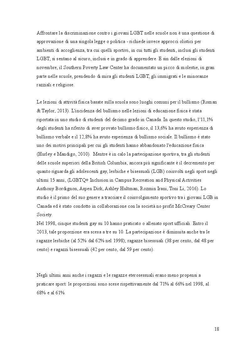 Anteprima della tesi: L'incidenza del bullismo omofobico sul modello sportivo nordamericano, Pagina 4