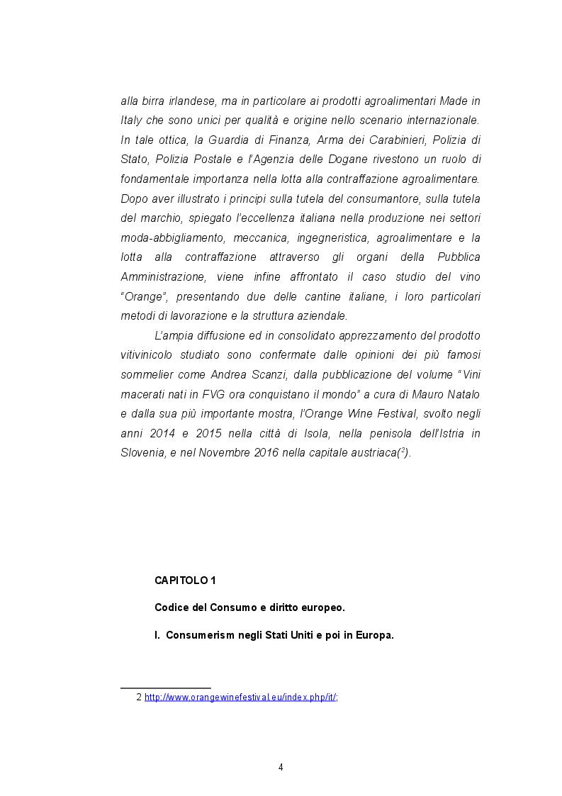 Anteprima della tesi: Il Codice del consumo, la tutela dell'eccellenza italiana e il ''nuovo'' vino Orange, Pagina 4