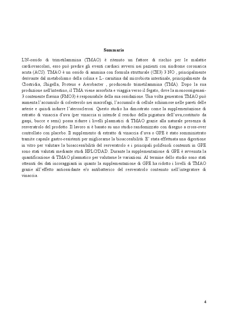 Anteprima della tesi: Effetti di un estratto polifenolico da vinacce di cultivar Aglianico sui livelli sierici di TMAO: risultati preliminari di uno studio cross-over randomizzato, controllato, contro placebo., Pagina 2