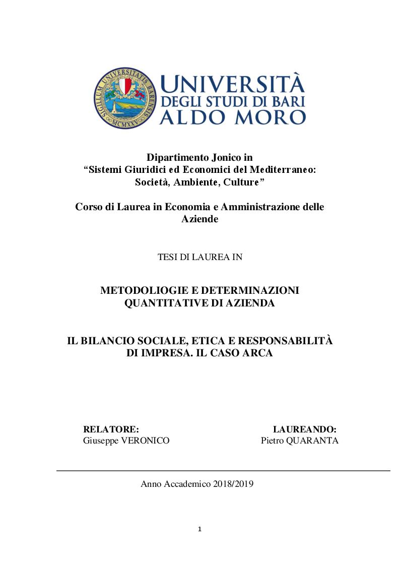Anteprima della tesi: Il Bilancio Sociale, etica e responsabilità d'Impresa. Il Caso ARCA, Pagina 1
