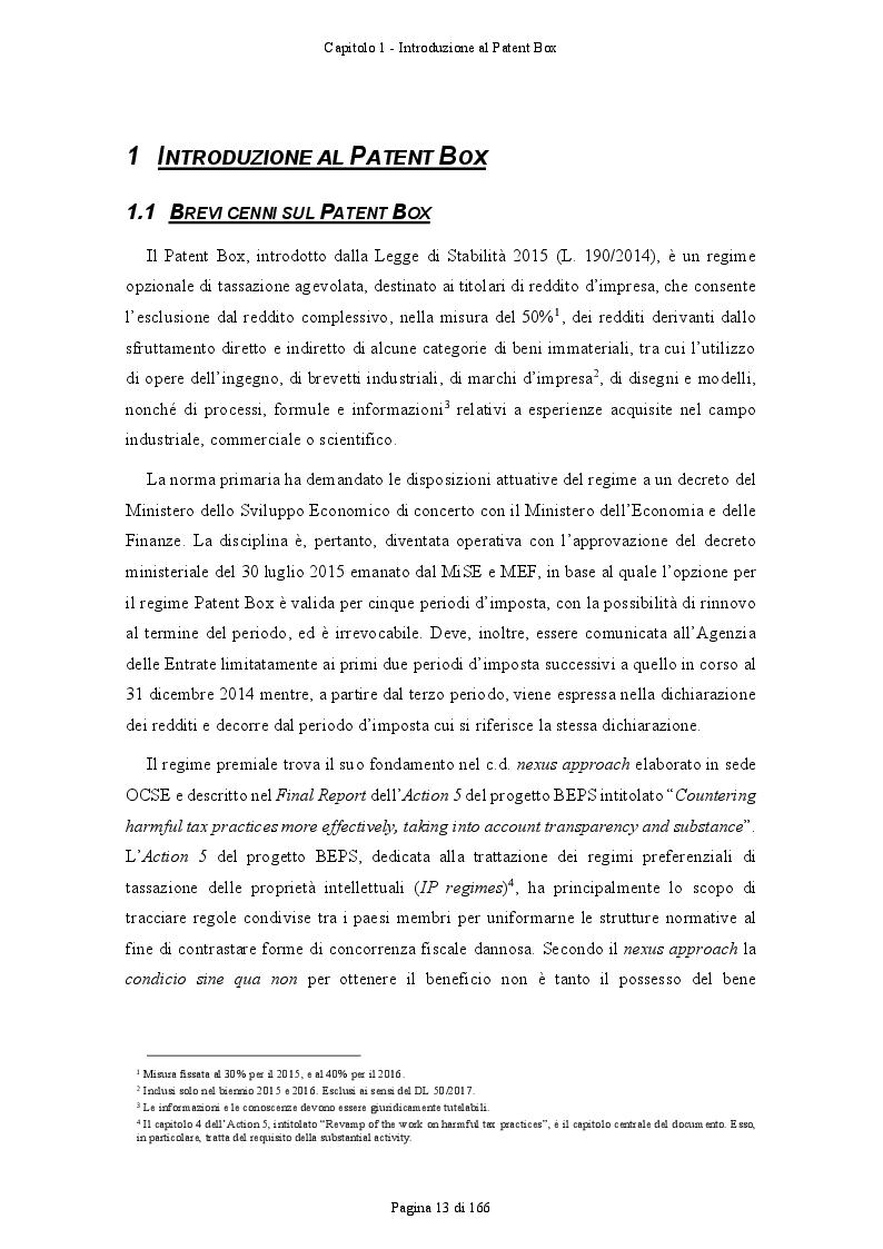 Anteprima della tesi: Patent Box: profili teorici e sviluppi applicativi del regime di tassazione agevolata dei redditi derivanti dall'utilizzo di beni immateriali, Pagina 4