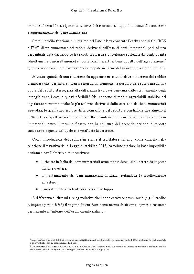 Anteprima della tesi: Patent Box: profili teorici e sviluppi applicativi del regime di tassazione agevolata dei redditi derivanti dall'utilizzo di beni immateriali, Pagina 5