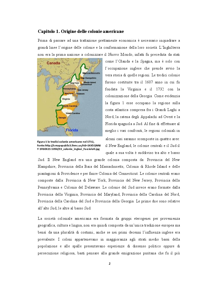 Anteprima della tesi: La situazione economica delle colonie americane, Pagina 3