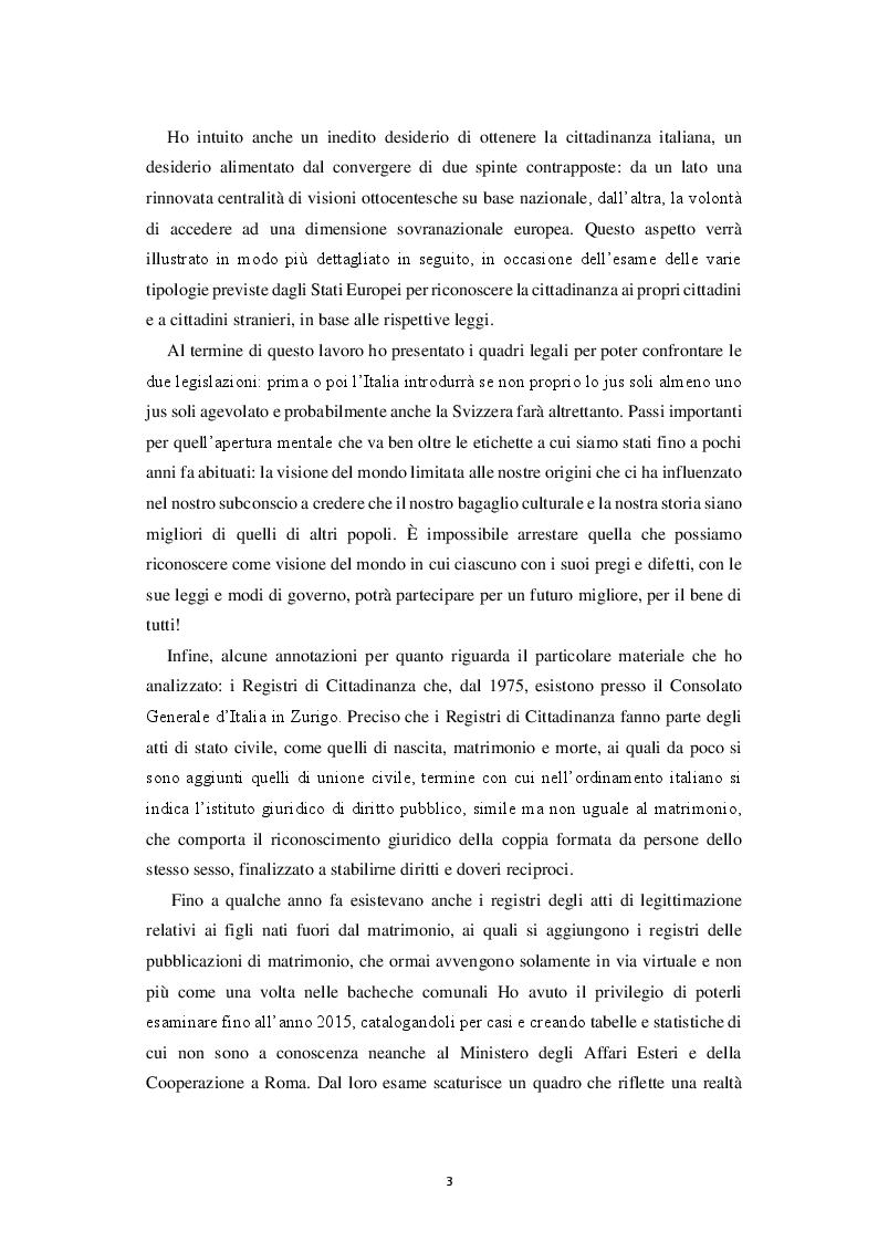 Anteprima della tesi: Italiana, Svizzera, Italo-svizzera Un'analisi della cittadinanza della comunità di emigranti italiani attraverso i registri di cittadinanza del Consolato Generale d'Italia di Zurigo (1975 - 2015), Pagina 4
