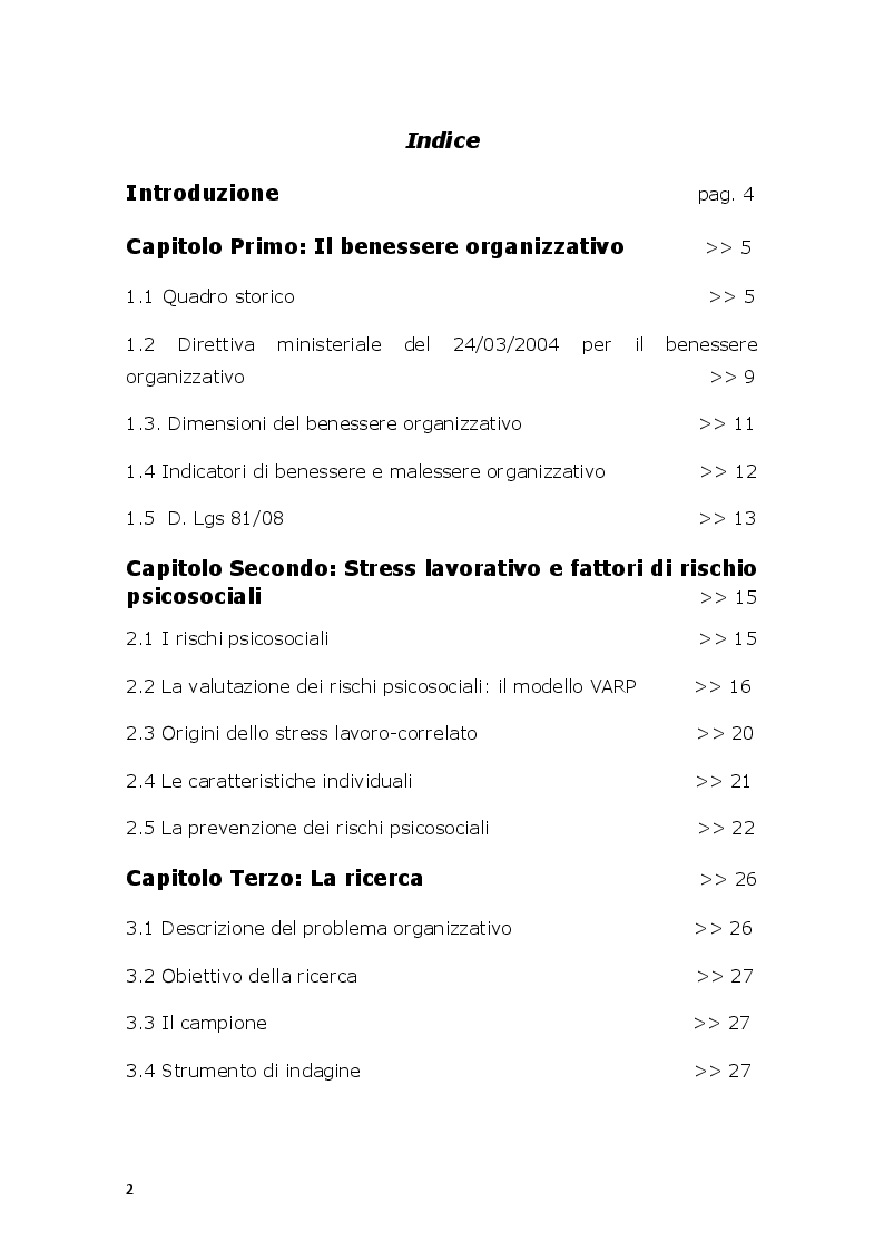 Indice della tesi: Il modello di valutazione dei rischi psicosociali (VARP) come risposta allo stress lavoro-correlato: un caso applicativo, Pagina 1