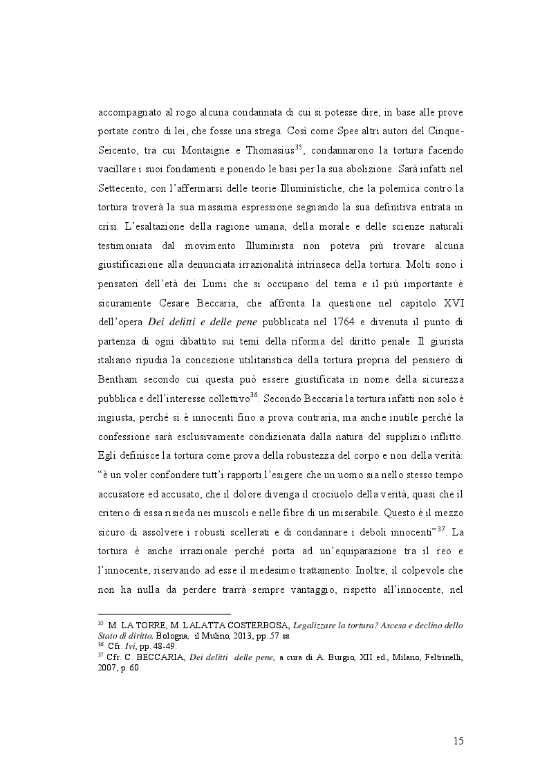 Estratto dalla tesi: IL DELITTO DI TORTURA - Processo storico e analisi critica di una fattispecie di reato a lungo attesa