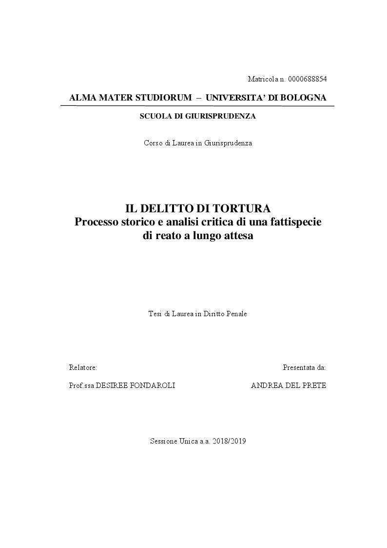 Anteprima della tesi: IL DELITTO DI TORTURA - Processo storico e analisi critica di una fattispecie di reato a lungo attesa, Pagina 1