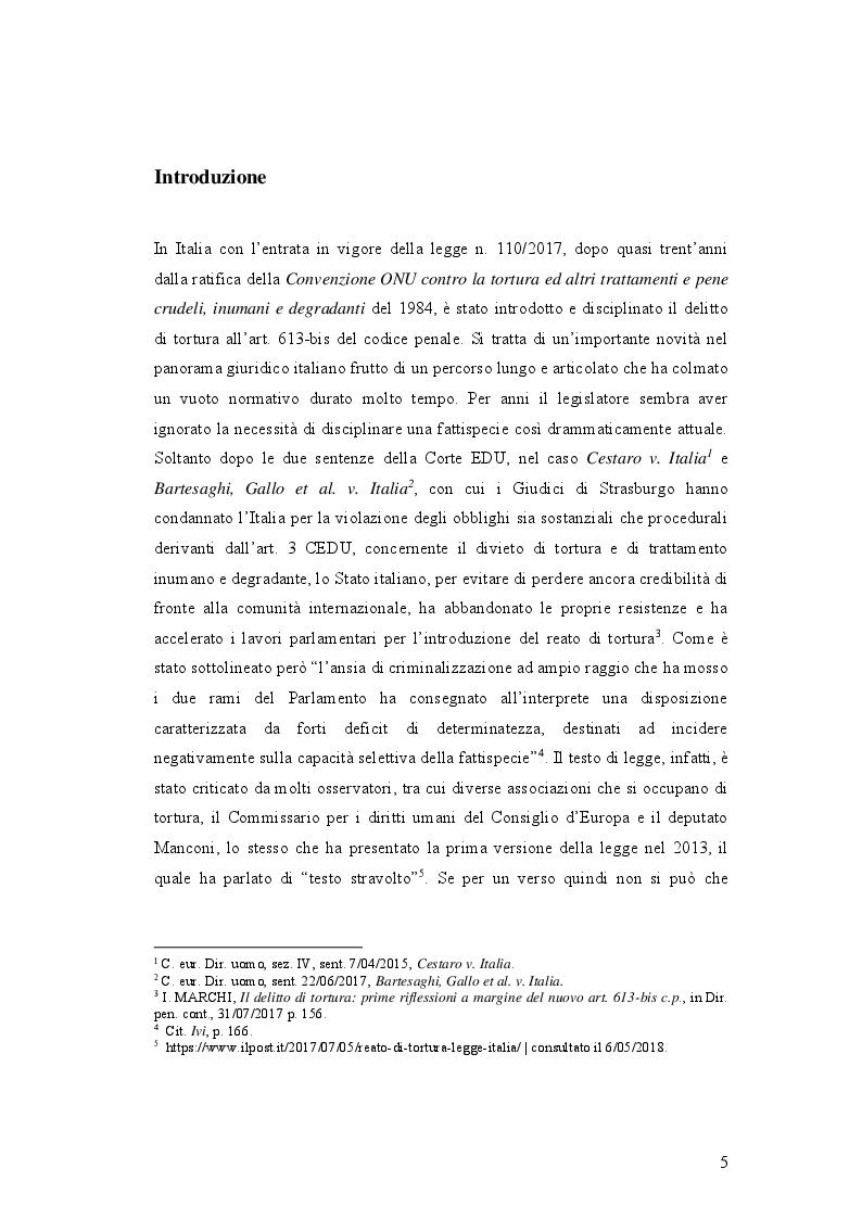 Anteprima della tesi: IL DELITTO DI TORTURA - Processo storico e analisi critica di una fattispecie di reato a lungo attesa, Pagina 2
