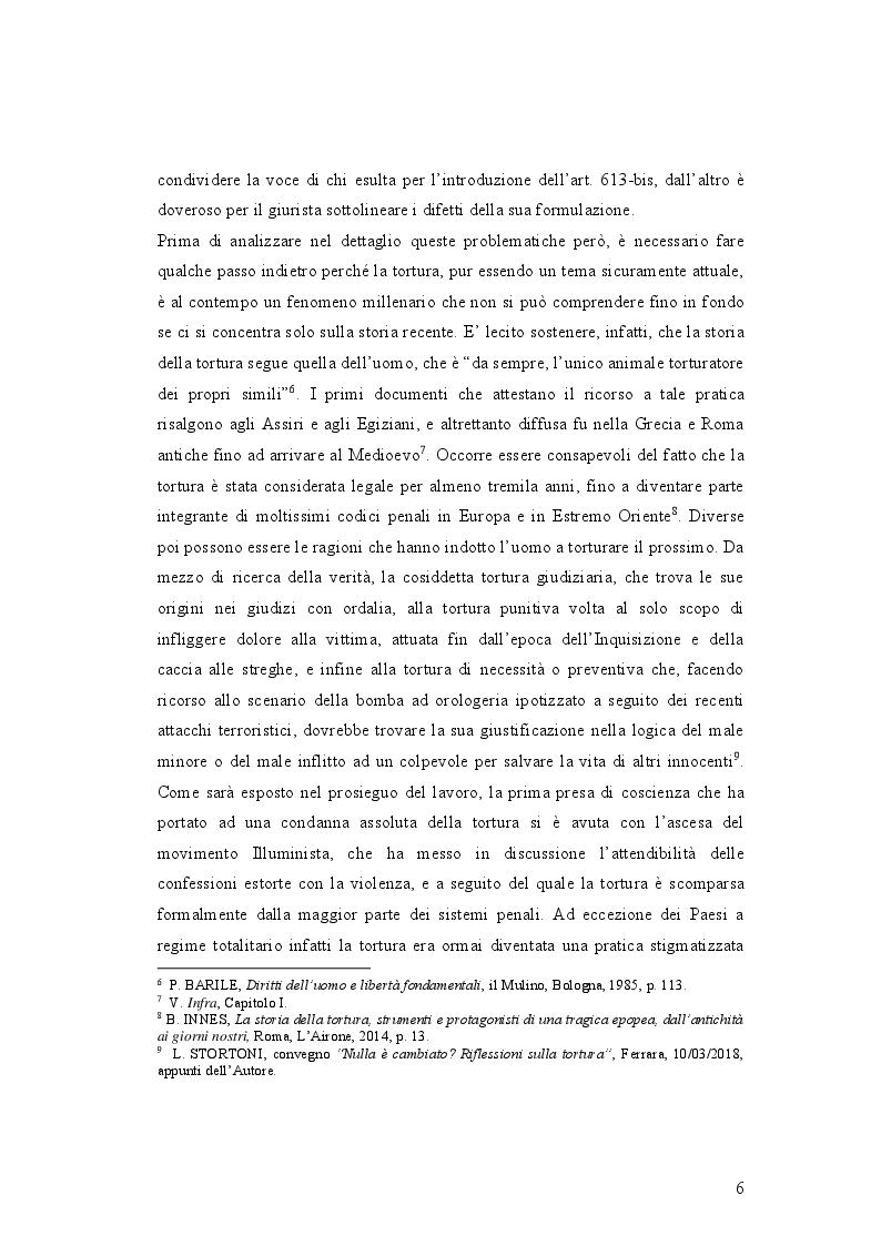 Anteprima della tesi: IL DELITTO DI TORTURA - Processo storico e analisi critica di una fattispecie di reato a lungo attesa, Pagina 3