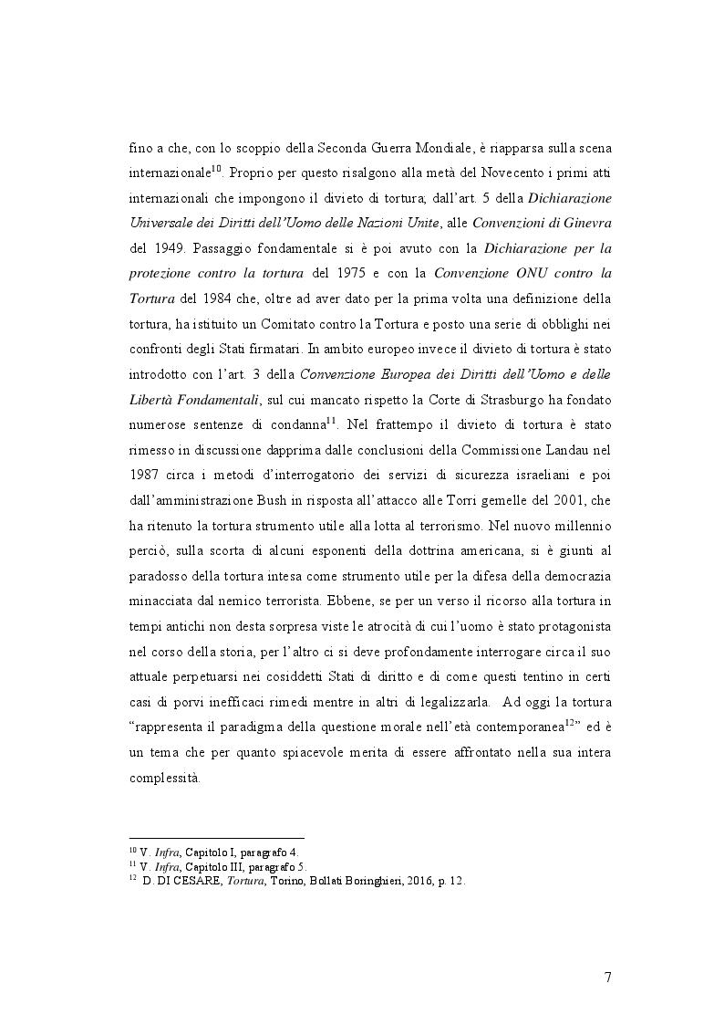 Anteprima della tesi: IL DELITTO DI TORTURA - Processo storico e analisi critica di una fattispecie di reato a lungo attesa, Pagina 4