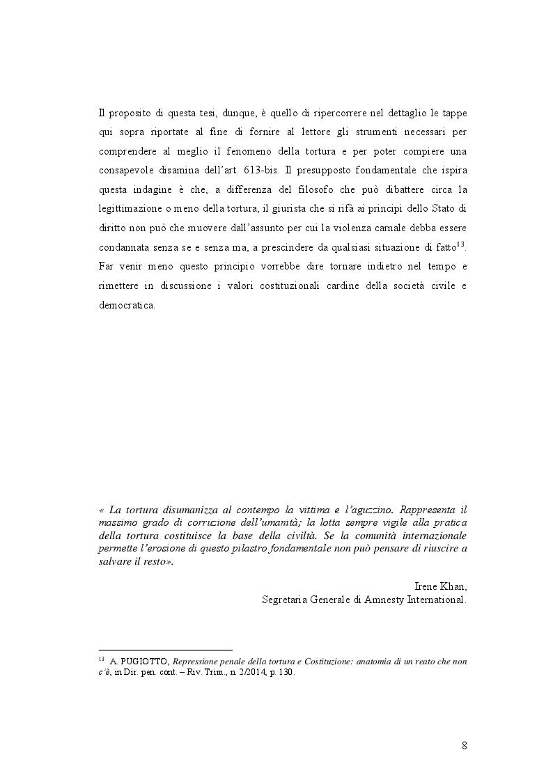 Anteprima della tesi: IL DELITTO DI TORTURA - Processo storico e analisi critica di una fattispecie di reato a lungo attesa, Pagina 5