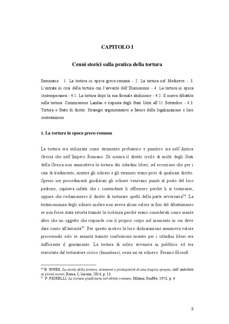 Anteprima della tesi: IL DELITTO DI TORTURA - Processo storico e analisi critica di una fattispecie di reato a lungo attesa, Pagina 6