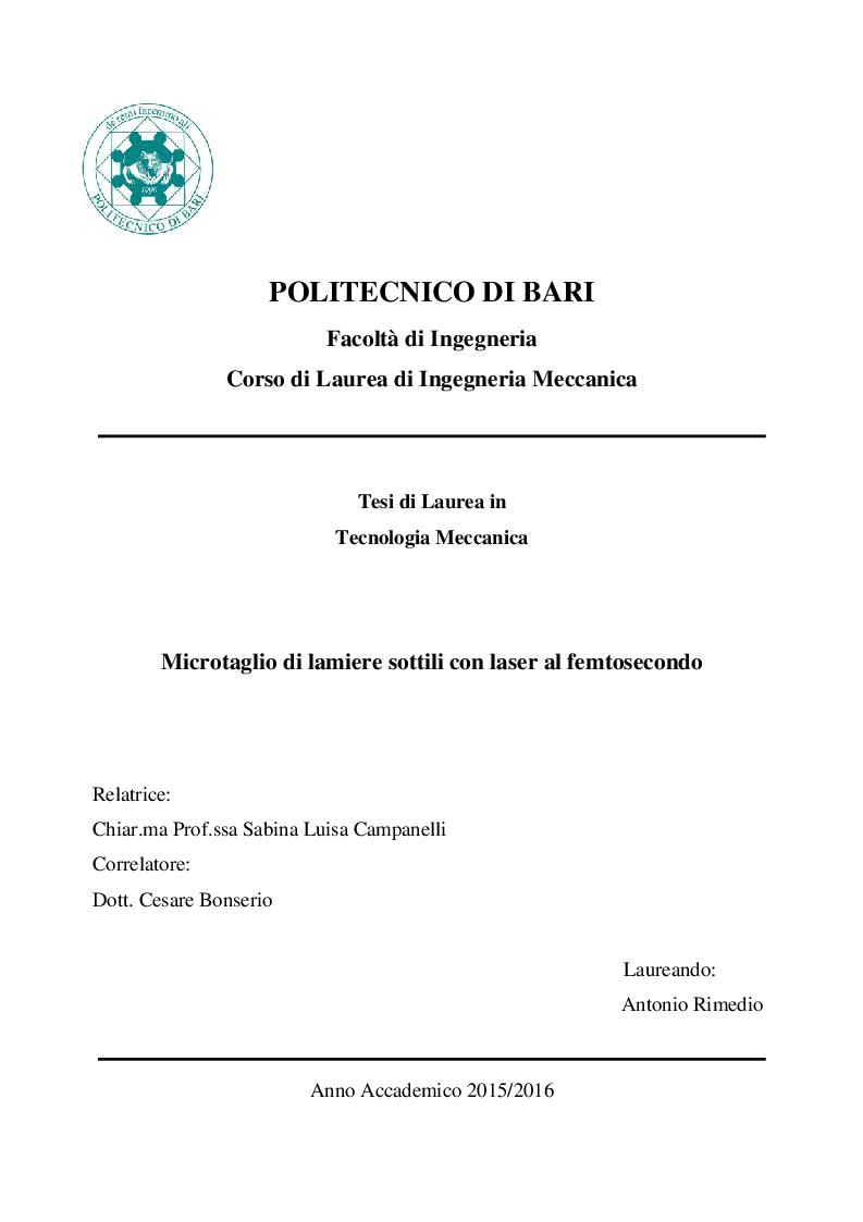 Anteprima della tesi: Microtaglio di lamiere sottili con laser al femtosecondo, Pagina 1