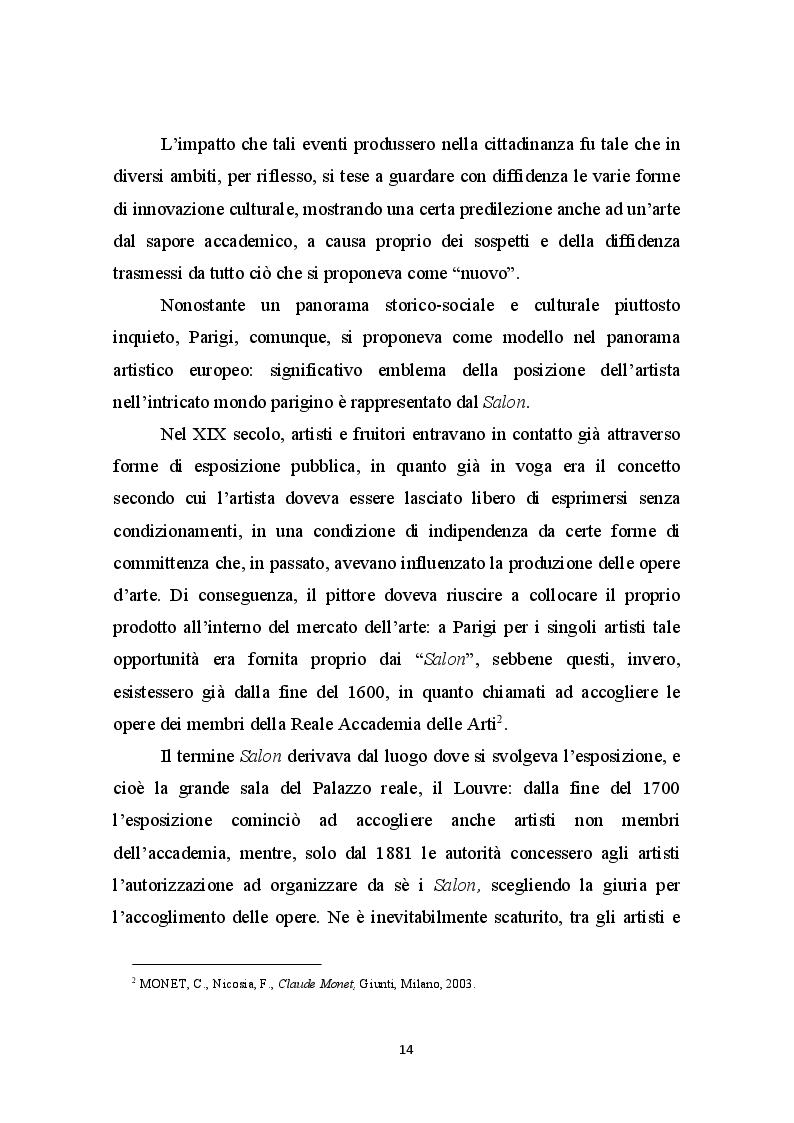 Anteprima della tesi: La Libertà dalle convenzioni: l'incontro sinergico tra impressionismo e mercato dell'arte, Pagina 3