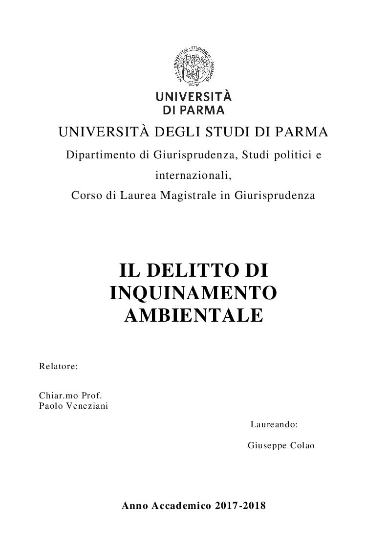 Anteprima della tesi: Il delitto di inquinamento ambientale, Pagina 1